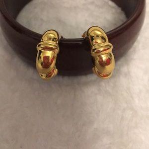 Fine Jewelry Vintage Hoop Earrings Gold Tone